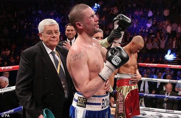 Relief: The emotional Bellew will be delighted to be able to progress to another shot at a world title