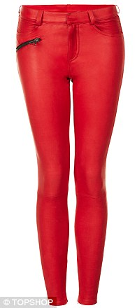 Red leather trousers, £295