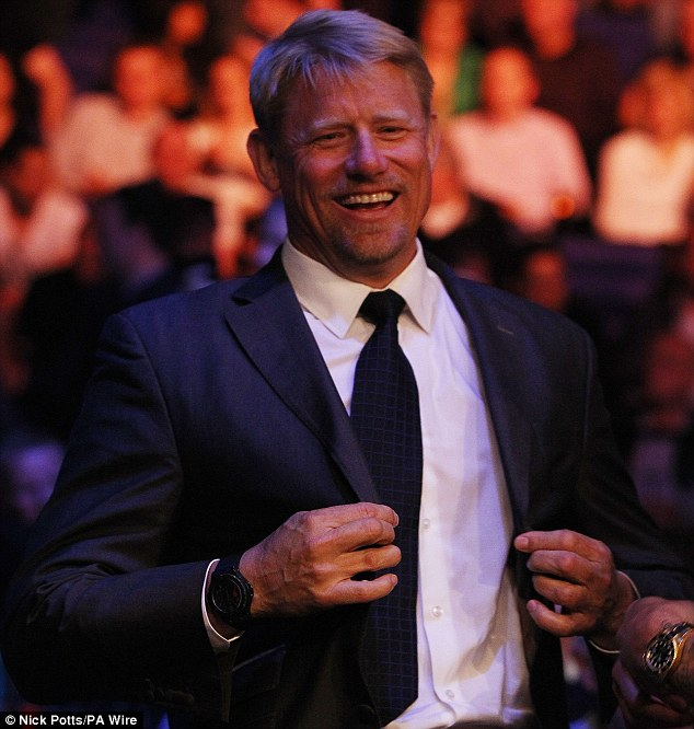 All smiles: Danish former Manchester United goalkeeper Peter Schmeichel enjoys himself at the O2 Arena