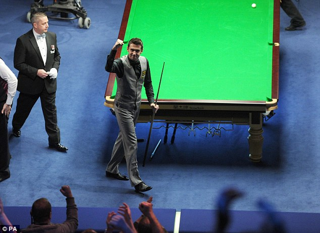 Celebrations: Selby's break helped him gain the upper hand in the UK Championship semi-final against Ricky Walden