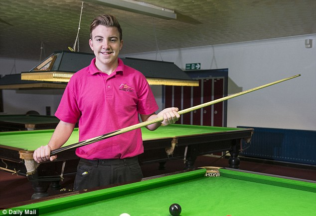 Day job: The youngster spends his time practicing at Cue T's in Marchwood, Southampton