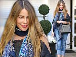 """eURN: AD*203661395  Headline: Sofia Vergara steps out amid Joe's ongoing health issues Caption: Beverly Hills, CA - Sofia Vergara is spotted leaving Epione in the 90210. The 43-year-old actress is wearing cuffed jeans and a cold shoulder top paired with a scarf and black sandals. Her husband, actor Joe Manganiello, recently underwent surgery for ìextremely seriousî appendicitis.  The 39-year-old actor was admitted into a hospital over the weekend and underwent surgery to have his appendix removed after pulling out of a charity gala due to """"health issues."""" According to a source, Joe seems to be doing fine now and is expected to make a full recovery. The last time we saw him was when he and wife Sofia Vergara stepped out together at the premiere of his film Pee-wee's Big Holiday at the SXSW Music, Film, and Interactive Festival back in March. AKM-GSI      April 20, 2016 To License These Photos, Please Contact : Steve Ginsburg (310) 505-8447 (323) 423-9397 steve@akmgsi.com sales@akmgsi.c"""