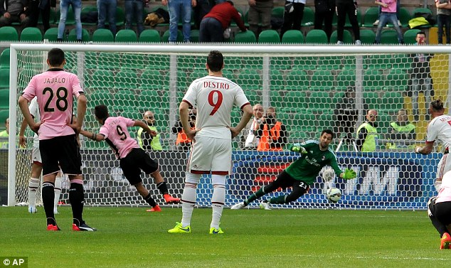 The Argentine forward scored a penalty during Palermo's 2-1 defeat by AC Milan on Saturday