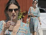 Picture Shows: Alessandra Ambrosio  April 22, 2016\n \n Model and busy mom Alessandra Ambrosio is spotted at the Brentwood Country Mart in Brentwood, California. It's back to business as usual for Alessandra who spent last weekend partying at Coachella.\n \n Non Exclusive\n UK RIGHTS ONLY\n \n Pictures by : FameFlynet UK © 2016\n Tel : +44 (0)20 3551 5049\n Email : info@fameflynet.uk.com