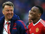 Manchester United manager Louis van Gaal and Manchester United's Anthony Martial (right) after the final whistle of the Emirates FA Cup, Semi-Final match at Wembley Stadium, London. PRESS ASSOCIATION Photo. Picture date: Saturday April 23, 2016. See PA story SOCCER Everton. Photo credit should read: John Walton/PA Wire. RESTRICTIONS: Use subject to FA restrictions. Editorial use only. Commercial use only with prior written consent of the FA. No editing except cropping. Call +44 (0)1158 447447 or see paphotos.com/info for full restrictions and further information.
