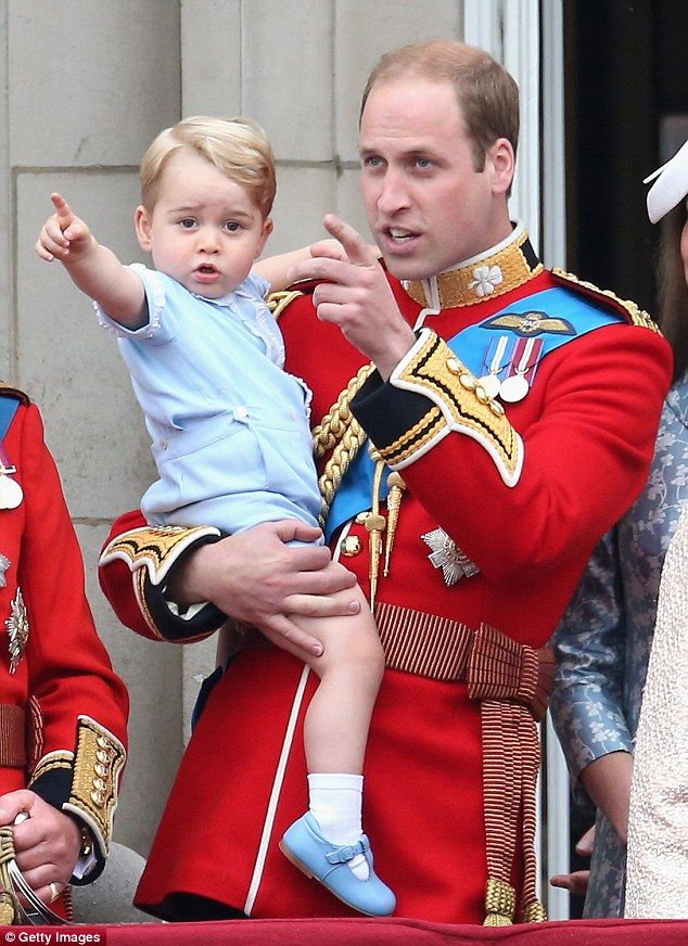 One fashion editor would like to see the Duchess be more adventurous in her choice of outfits for her children. Pictured, William holding George during the Trooping the Colour in 2015