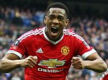 Anthony Martial of Manchester United celebrates scoring his sides second goal   during the Emirates FA Cup Semi-Final  match between Everton and Manchester United played at Wembley Stadium, London on April 23rd 2016