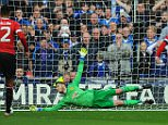 FA Cup Semi Final, Manchester United v Everton 23/04/16: Picture Kevin Quigley/Daily Mail David de Gea saves Romelu Lukaku penalty