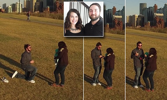 Adorable moment Canada man proposes to girlfriend using drone to capture her reaction