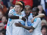"""Football Soccer - Liverpool v Newcastle United - Barclays Premier League - Anfield - 23/4/16  Jack Colback celebrates with team mates after scoring the second goal for Newcastle  Reuters / Phil Noble  Livepic  EDITORIAL USE ONLY. No use with unauthorized audio, video, data, fixture lists, club/league logos or """"live"""" services. Online in-match use limited to 45 images, no video emulation. No use in betting, games or single club/league/player publications.  Please contact your account representative for further details."""