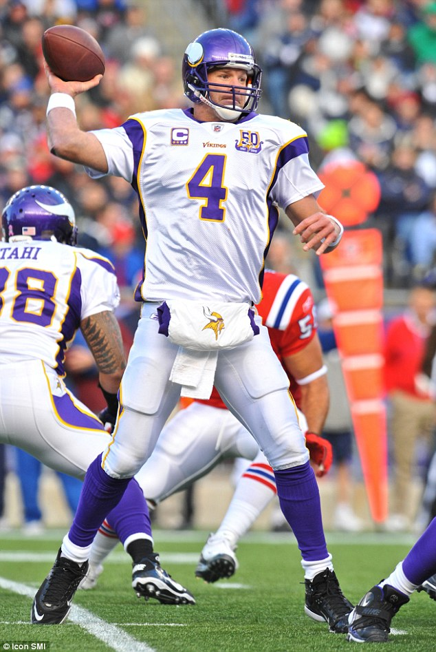 Out of action: Vikings quarterback Brett Favre, who is suffering memory loss, says he will not return to the game