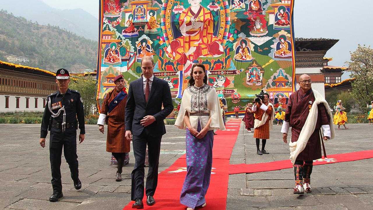 Britains Prince William and his wife Kate, Duchess of Cambridge are seen in Thimphu, Bhutan, Thursday, April 14, 2016.