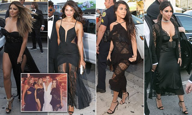 Kim Kardashian leads a parade of stars in racy outfits at  Dave Grutman's wedding