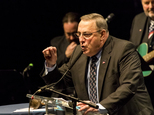 Maine Gov. Paul LePage delivers a keynote address at the Maine GOP convention in Bangor, Maine, Saturday, April 23, 2016. Maine Republicans have elected a slate of delegates to the national convention that's heavy on supporters of Ted Cruz. (Ben McCanna/Portland Press Herald via AP) MANDATORY CREDIT