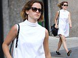 04/23/2016\nEXCLUSIVE: Emma Watson spotted strolling through New York City today. On a beautiful Saturday afternoon the 26 year old film star took to the streets of Soho where she took in some retail therapy. Emma looked great in a white mini shift dress and black patent leather loafers. \nPlease byline:TheImageDirect.com\n*EXCLUSIVE PLEASE EMAIL sales@theimagedirect.com FOR FEES BEFORE USE