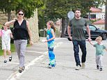 Picture Shows: Seraphina Affleck, Jennifer Garner, Violet Affleck, Ben Affleck, Samuel Affleck  April 24, 2016    Estranged couple Jennifer Garner and Ben Affleck are spotted leaving church in Pacific Palisades, California with their children Samuel, Violet, and Seraphina. The family were inside of the church for over four hours.    Non-Exclusive  UK RIGHTS ONLY    Pictures by : FameFlynet UK © 2016  Tel : +44 (0)20 3551 5049  Email : info@fameflynet.uk.com