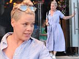EXCLUSIVE: Pink wears a 'hospital gown' style dress as she enjoys lunch with her family in LA! Pink was seen wearing the relaxing outfit as she spent the day with her family in Venice, Ca.\n\nPictured: Pink\nRef: SPL1269153  230416   EXCLUSIVE\nPicture by: Atlantic/London Ent/Splash News\n\nSplash News and Pictures\nLos Angeles: 310-821-2666\nNew York: 212-619-2666\nLondon: 870-934-2666\nphotodesk@splashnews.com\n