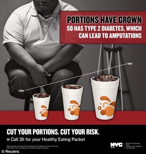 Cut your risk: An advertisement to fight obesity created on behalf of the New York City Department of Health shows an amputee sitting near cups of soda