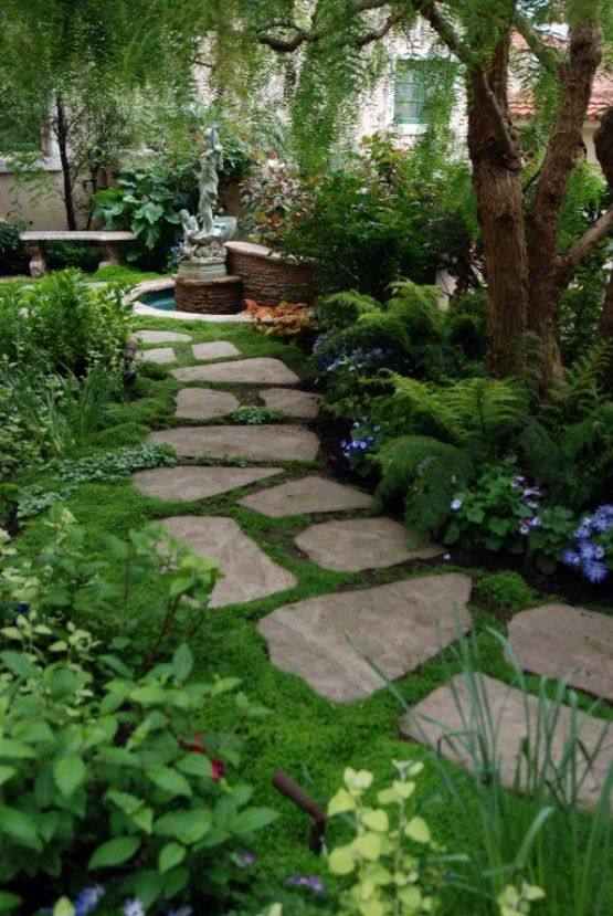 grass and rock garden pathway