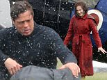 """April 25, 2016\n \n American actor Brad Pitt is spotted filming scenes for """"Allied"""".\n \n Set in World War 2 Pitt is seen here approaching the dead body of his co-star Lizzy Caplan and placing his coat over her body in the rain.\n \n The scenes were filmed in Southern England.\n \n EXCLUSIVE\n WORLDWIDE RIGHTS\n \n Pictures by : FameFlynet UK © 2016\n Tel : +44 (0)20 3551 5049\n Email : info@fameflynet.uk.com"""
