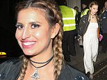 """Picture Shows: Ferne McCann  April 25, 2016    * Min Web / Online Fee £200 For Set *    British Reality Star Ferne McCann leaving the PFA (Professional Footballers' Association) Awards after party held  at Libertine's night club in London, England.     She had dirt rising up her white trousers and a journal with her. On the journals cover was a love heart and a tiger with the words """"Tragic, forever, dramatic, horrifying.""""     * Min Web / Online Fee £200 For Set *    Exclusive All Rounder  WORLDWIDE RIGHTS  Pictures by : FameFlynet UK © 2016  Tel : +44 (0)20 3551 5049  Email : info@fameflynet.uk.com"""