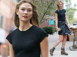 EXCLUSIVE: Karlie Kloss spotted wearing a Chic Black Leather Outfit to Dinner.  Pictured: Karlie Kloss Ref: SPL1270202  250416   EXCLUSIVE Picture by: Splash News  Splash News and Pictures Los Angeles: 310-821-2666 New York: 212-619-2666 London: 870-934-2666 photodesk@splashnews.com
