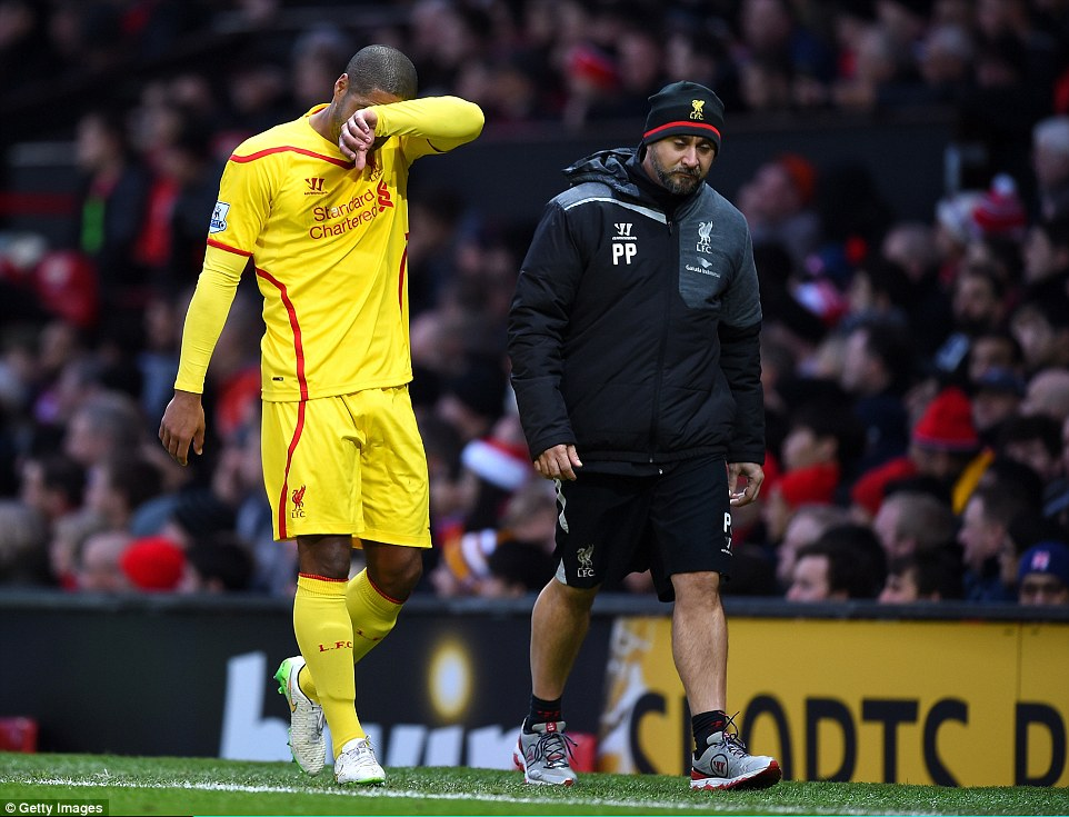 Glen Johnson makes an early exit after just 26 minutes through injury and is replaced by Kolo Toure