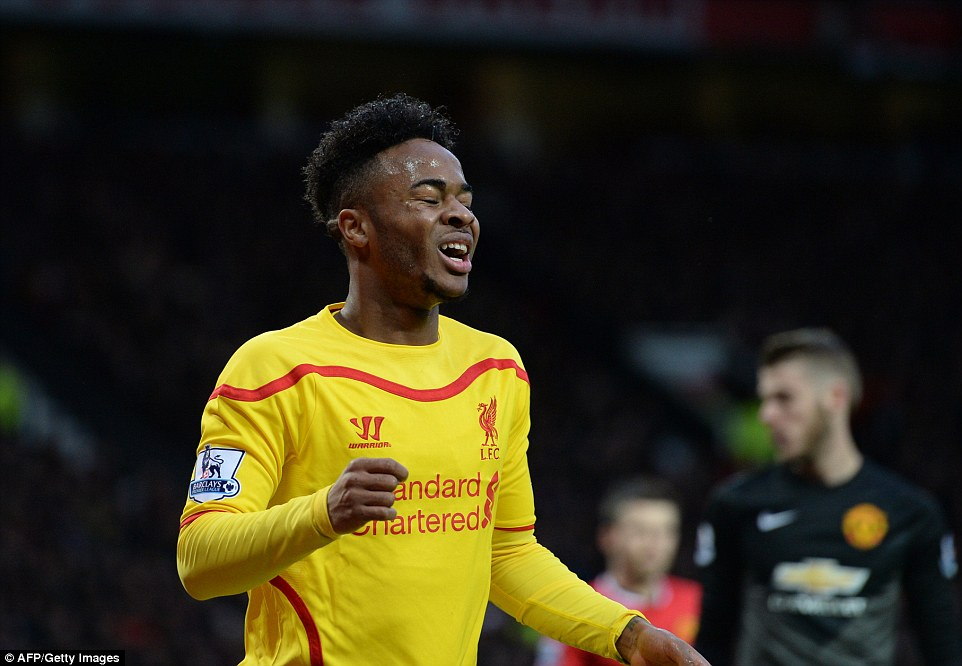 Sterling reacts after missing one of several clear chances for Liverpool, who were without a striker in the first half