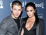 NO JUST JARED USAGE..27th Annual GLAAD Media Awards - Red Carpet....Pictured: Demi Lovato, Nick Jonas ..Ref: SPL1256514  030416  ..Picture by: Splash News....Splash News and Pictures..Los Angeles: 310-821-2666..New York: 212-619-2666..London: 870-934-2666..photodesk@splashnews.com..