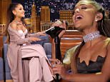 THE TONIGHT SHOW STARRING JIMMY FALLON -- Episode 0457 -- Pictured: (l-r) Singer Ariana Grande during an interview with host Jimmy Fallon on April 25, 2016 -- (Photo by: Andrew Lipovsky/NBC/NBCU Photo Bank via Getty Images)