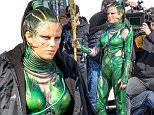 Picture Shows: Elizabeth Banks  April 25, 2016\n \n Actress Elizabeth Banks spotted on the set of 'Power Rangers' in Vancouver, Canada. She was wearing an emerald green costume with a gold staff. Even her hair had hints of green and gold that matched the color pattern of her suit.\n \n Non Exclusive\n UK RIGHTS ONLY\n \n Pictures by : FameFlynet UK � 2016\n Tel : +44 (0)20 3551 5049\n Email : info@fameflynet.uk.com