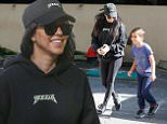 """*EXCLUSIVE* Woodland Hills, CA - Kourtney Kardashian takes her son Mason Disick to art class on Tuesday evening. The mother of three is wearing leggings and sneakers paired with a """"Yeezus"""" hoodie and cap. Kourtney has her long locks worn down and goofs around with Mason as they head to the car. \n  \nAKM-GSI     April 26, 2016\nTo License These Photos, Please Contact :\nSteve Ginsburg\n(310) 505-8447\n(323) 423-9397\nsteve@akmgsi.com\nsales@akmgsi.com\nor\nMaria Buda\n(917) 242-1505\nmbuda@akmgsi.com\nginsburgspalyinc@gmail.com"""