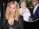 """*EXCLUSIVE* West Hollywood, CA - Rita Ora joined her close friend Nick Grimshaw and others for a sushi dinner at Izakaya after Beyonce fans accused her of being """"Becky with the Good Hair"""" in her new track. The 25-year-old singer wore a black leather jacket over a silver gown with center slit and a pair of Stan Smith Adidas shoes. \n  \nAKM-GSI        April 25, 2016\nTo License These Photos, Please Contact :\nSteve Ginsburg\n(310) 505-8447\n(323) 423-9397\nsteve@akmgsi.com\nsales@akmgsi.com\nor\nMaria Buda\n(917) 242-1505\nmbuda@akmgsi.com\nginsburgspalyinc@gmail.com"""