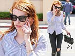 26.April.2016 -  Beverly Hills, CA - USA\n***AVAILABLE FOR UK AND GERMANY SALE ONLY ***\n*EXCLUSIVE ALL ROUND PICTURES*\n Emma Roberts heads to Sugarfish for a healthy bite in Beverly Hills. The red headed actress took a call on her cell phone as she jaywalked across the street to the popular fish food eatery in distressed jeans and a button up shirt with leather boots.\nBYLINE MUST READ: AKM-GSI-XPOSURE\n***UK CLIENTS - PICTURES CONTAINING CHILDREN PLEASE PIXELATE FACE PRIOR TO PUBLICATION ***\n*UK CLIENTS MUST CALL PRIOR TO TV OR ONLINE USAGE PLEASE TELEPHONE 0208 344 2007*