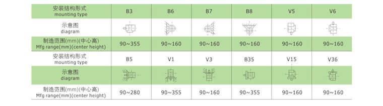 高效率三相异步电动机安装结构形式图