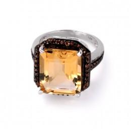 Серебряное кольцо с цитрином ашер и коричневыми цирконами