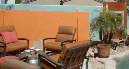 Poolside table-top fire pit adds artistic flair and comfort