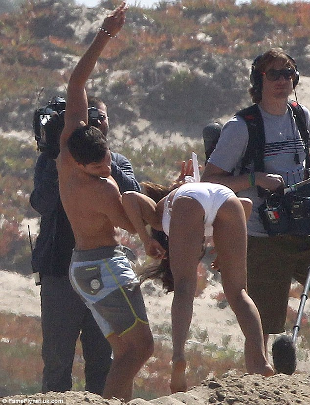 Safe and sound: The brunette guy made sure Andi landed on her feet