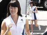 151249, EXCLUSIVE: Emma Stone runs to her trailer while on the set of Battle Of The Sexes in character as Billie Jean King. Los Angeles, California - Thursday April 28, 2016. Photograph: © PacificCoastNews. Los Angeles Office: +1 310.822.0419 UK Office: +44 (0) 20 7421 6000 sales@pacificcoastnews.com FEE MUST BE AGREED PRIOR TO USAGE