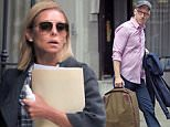 28th April 2016: Kelly Ripa and husband Mark Consuelos leave their house together this morning. Kelly wore comfortable white sneakers, jeans and a plaid shirt as she headed to the ABC studios clutching a paper folder.
