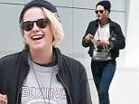 Exclusive... 52039316 Actress Kristen Stewart was spotted shopping in Beverly Hills, California on April 29, 2016 with one of her friends.  She made sure to pay for parking and while she was pulling out, a fan came up requesting a signature. FameFlynet, Inc - Beverly Hills, CA, USA - +1 (310) 505-9876