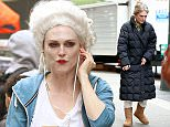 FIRST LOOK: Actress Julianne Moore, with blonde hair in a beehive, walks to her camera test for her new movie 'Wonderstruck' in New York City on April 28, 2016.  Pictured: Julianne Moore Ref: SPL1272101  280416   Picture by: Christopher Peterson/Splash News  Splash News and Pictures Los Angeles: 310-821-2666 New York: 212-619-2666 London: 870-934-2666 photodesk@splashnews.com