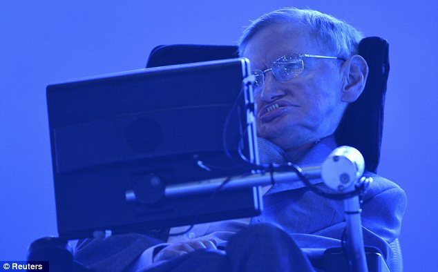 Powerful symbol: As one of Britain's most iconic symbols of human triumph over adversity, Prof Hawking, 72, has lived with the debilitating illness motor neurone disease since the age of 22