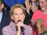 Carly Fiorina, campaigning with Ted Cruz in Lafayette, slipped off a stage and fell