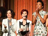 LOS ANGELES, CA - MAY 01:  TV Personalities (L-R) Sheryl Underwood, Sara Gilbert, Sharon Osbourne, Aisha Tyler and Julie Chen accept Emmy the 43rd Annual Daytime Emmy Awards at the Westin Bonaventure Hotel on May 1, 2016 in Los Angeles, California.  (Photo by Earl Gibson III/Getty Images)
