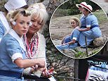 **NO ONLINE TILL 4PM TODAY 01/05/16**\\n27/04/16. Helen George filming Call The Midwife in South Africa. She was pictured with her hair in curlers, getting a shouler rub from a fellow actor and playing with a dog and a horse. There was no sign of her current boyfriend, fellow actor Jack Ashton.\\nNoble Draper Pictures.\\n**BYLINE: MIKE BEHR/NOBLE/DRAPER**\\n**NO ONLINE TILL 4PM TODAY 01/05/16**