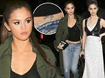 May 02, 2016: Selena Gomez goes to dinner after attending the Met Gala in New York City, New York. The actress and singer was looking casual in a long green coat, faded jeans, black ankle boots, and a top which exposed her stomach.\nMandatory Credit: PapJuiceLA/INFphoto.com Ref: infusny-147/usla-314