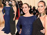 epa05287573 Emily Blunt (L) and Olivia Wilde (R) arrive on the red carpet for the 2016 Costume Institute Benefit at The Metropolitan Museum of Art celebrating the opening of the exhibit 'Manus x Machina: Fashion in an Age of Technology' in New York, New York, USA, 02 May 2016. The exhibit will be on view at the Metropolitan Museum of Artís Costume Institute from 05 May to 14 August 2016.  EPA/JUSTIN LANE