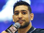 Amir Khan speaks at an event at the MGM Grand, Tuesday, May 3, 2016, in Las Vegas. Khan is scheduled to fight in Canelo Alvarez in a middleweight world championship bout Saturday in Las Vegas. (AP Photo/John Locher)