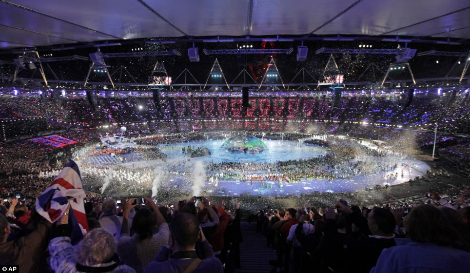 Spectacular sight: The stadium was awash with colour as teams paraded into the stadium